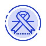 Καρκίνος, ογκολογία, κορδέλλα, ιατρικό μπλε εικονίδιο γραμμών διαστιγμένων γραμμών απεικόνιση αποθεμάτων