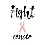 Καρκίνος πάλης Εμπνευσμένο απόσπασμα για τη συνειδητοποίηση καρκίνου του μαστού στοκ εικόνες