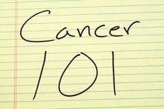 Καρκίνος 101 σε ένα κίτρινο νομικό μαξιλάρι Στοκ εικόνες με δικαίωμα ελεύθερης χρήσης