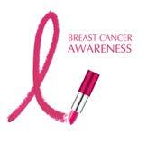 Καρκίνος του θηλυκού μαστού με το κραγιόν Στοκ φωτογραφία με δικαίωμα ελεύθερης χρήσης