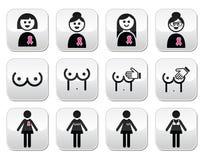Καρκίνος του μαστού, γυναίκα με τα ρόδινα κουμπιά κορδελλών καθορισμένα Στοκ εικόνες με δικαίωμα ελεύθερης χρήσης