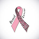 Καρκίνος του μαστού με την περίκομψη ρόδινη κορδέλλα με τα αρσενικά ελάφια Η διανυσματική συρμένη χέρι απεικόνιση μπορεί να χρησι Στοκ Εικόνες
