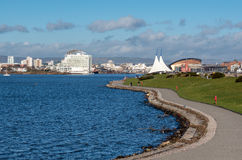 ΚΑΡΝΤΙΦ, WALES/UK - 26 ΔΕΚΕΜΒΡΊΟΥ: Άποψη του κόλπου του Κάρντιφ στην Ουαλία ο Στοκ εικόνα με δικαίωμα ελεύθερης χρήσης