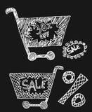 Καροτσάκια αγοράς με τα σύμβολα τοις εκατό στο μαύρο υπόβαθρο Στοκ Εικόνες