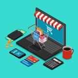 Καροτσάκι αγορών στο πληκτρολόγιο lap-top Στοκ εικόνες με δικαίωμα ελεύθερης χρήσης