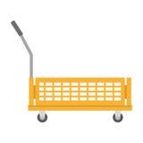 καροτσάκι αποθηκών εμπορευμάτων με τα κιβώτια προστασίας Στοκ Εικόνα