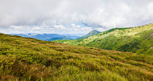 Καρπάθια διασχίζοντας intermountain τοπίων βουνών όψη της Ουκρανίας περιοχών transcarpathian Στοκ Εικόνες