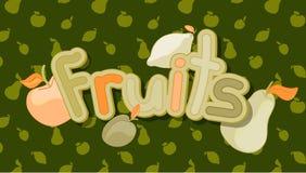 καρποί Ζωηρόχρωμη διανυσματική απεικόνιση των φρούτων Στοκ Εικόνες