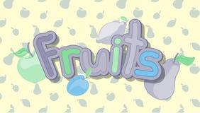 καρποί Ζωηρόχρωμη διανυσματική απεικόνιση των φρούτων Στοκ Εικόνα