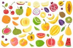 Καρποί που απομονώνονται Ζωηρόχρωμα φρούτα ασβέστη πεπονιών μπανανών δαμάσκηνων ροδάκινων κερασιών πορτοκαλιά Φυσικό vegan διανυσ απεικόνιση αποθεμάτων