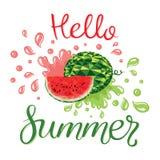 Καρπούζια και καλοκαίρι εγγραφής γειά σου διανυσματική απεικόνιση