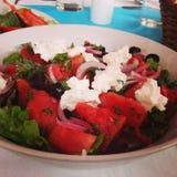 Καρπούζι και σαλάτα τυριών φέτας στοκ φωτογραφίες