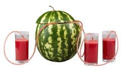 Καρπούζι και τρία ποτήρια του χυμού Στοκ εικόνα με δικαίωμα ελεύθερης χρήσης