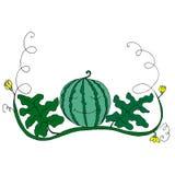 Καρπούζι κινούμενων σχεδίων στο φύλλωμα και λουλούδια στην άσπρη πλάτη Ελεύθερη απεικόνιση δικαιώματος