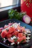 Καρπούζι, μέντα, ελιές και σαλάτα φέτας Στοκ φωτογραφίες με δικαίωμα ελεύθερης χρήσης