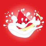 Καρπούζι στην απεικόνιση γάλακτος στο κόκκινο υπόβαθρο στοκ εικόνες