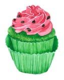 Καρπούζι Cupcakes, πράσινο cupcake Watercolor Στοκ Εικόνα