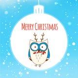 καρτών υφαντικό διάνυσμα αυτοκόλλητων ετικεττών κουκουβαγιών Χριστουγέννων χαριτωμένο Διανυσματική απεικόνιση eps10 Απεικόνιση αποθεμάτων