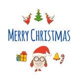 καρτών υφαντικό διάνυσμα αυτοκόλλητων ετικεττών κουκουβαγιών Χριστουγέννων χαριτωμένο Διανυσματική απεικόνιση eps10 Διανυσματική απεικόνιση