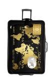 καρτών χρυσός που απομονώνεται σκοτεινός πέρα από το λευκό βαλιτσών Στοκ Φωτογραφίες