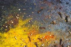 Καρυκεύματα - κάρρυ, σκόνη πάπρικας και γαρίφαλο στο σκοτεινό υπόβαθρο  FO Στοκ εικόνα με δικαίωμα ελεύθερης χρήσης