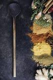 Καρυκεύματα και χορτάρια σε ένα σκοτεινό υπόβαθρο Στοκ εικόνα με δικαίωμα ελεύθερης χρήσης