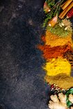 Καρυκεύματα και χορτάρια σε ένα σκοτεινό υπόβαθρο Στοκ Φωτογραφία