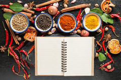 Καρυκεύματα με τα συστατικά στο σκοτεινό υπόβαθρο υγιής ή μαγείρεμα γ Στοκ φωτογραφία με δικαίωμα ελεύθερης χρήσης