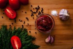 Καρυκεύματα ντοματών σάλτσας Στοκ Εικόνα