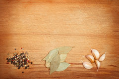 Καρυκεύματα στο ξύλινο πλαισιωμένο υπόβαθρο Στοκ εικόνες με δικαίωμα ελεύθερης χρήσης