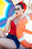Καρφίτσα-επάνω εν πλω με το εργαλείο lifeguard στοκ φωτογραφία με δικαίωμα ελεύθερης χρήσης