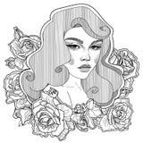 καρφίτσα επάνω στο κορίτσι στα τριαντάφυλλα στοκ φωτογραφία