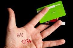 Καρφίτσα πιστωτικών καρτών στοκ φωτογραφία