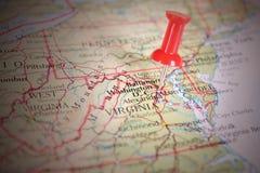 Καρφίτσα σε έναν χάρτη Στοκ Εικόνες