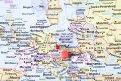Καρφίτσα στο χάρτη Στοκ Εικόνα