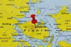 Καρφίτσα της Οντένσε σε έναν χάρτη Στοκ Εικόνες