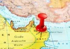 Καρφίτσα χαρτών του Ομάν στοκ φωτογραφίες