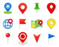 Καρφίτσα Geo ως λογότυπο Geolocation και ναυσιπλοΐα Εικονίδιο για το χάρτη, κινητός ή τις συσκευές ΠΣΤ για το σχέδιο Ιστού, κουμπ ελεύθερη απεικόνιση δικαιώματος
