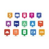 Καρφίτσες εικονιδίων ταξιδιού καθορισμένες Στοκ εικόνα με δικαίωμα ελεύθερης χρήσης