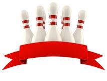 Καρφίτσες μπόουλινγκ με την κενή κόκκινη κορδέλλα Στοκ εικόνα με δικαίωμα ελεύθερης χρήσης