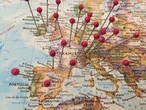 Καρφίτσες χαρτών στην Ευρώπη Στοκ εικόνα με δικαίωμα ελεύθερης χρήσης