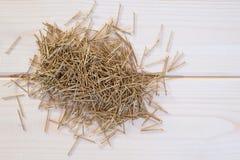 Καρφιά ορείχαλκου σε ένα ξύλινο υπόβαθρο Στοκ εικόνες με δικαίωμα ελεύθερης χρήσης
