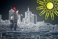 Καρφωμένος επιχειρηματίας επάνω από το σκίτσο πόλεων Στοκ φωτογραφία με δικαίωμα ελεύθερης χρήσης