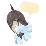 καρχαρίας κινούμενων σχεδίων με τη λεκτική φυσαλίδα Στοκ Φωτογραφία