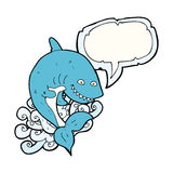 καρχαρίας κινούμενων σχεδίων με τη λεκτική φυσαλίδα Στοκ φωτογραφία με δικαίωμα ελεύθερης χρήσης
