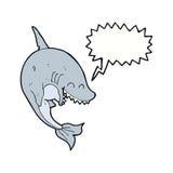καρχαρίας κινούμενων σχεδίων με τη λεκτική φυσαλίδα Στοκ Εικόνες