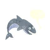 καρχαρίας κινούμενων σχεδίων με τη λεκτική φυσαλίδα Στοκ Εικόνα