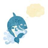 καρχαρίας κινούμενων σχεδίων με τη σκεπτόμενη φυσαλίδα Στοκ Φωτογραφίες