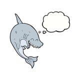καρχαρίας κινούμενων σχεδίων με τη σκεπτόμενη φυσαλίδα Στοκ Εικόνες