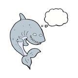 καρχαρίας κινούμενων σχεδίων με τη σκεπτόμενη φυσαλίδα Στοκ εικόνα με δικαίωμα ελεύθερης χρήσης